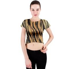 Tiger Animal Print A Completely Seamless Tile Able Background Design Pattern Crew Neck Crop Top