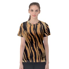 Tiger Animal Print A Completely Seamless Tile Able Background Design Pattern Women s Sport Mesh Tee