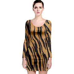 Tiger Animal Print A Completely Seamless Tile Able Background Design Pattern Long Sleeve Bodycon Dress