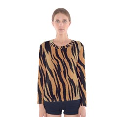 Tiger Animal Print A Completely Seamless Tile Able Background Design Pattern Women s Long Sleeve Tee