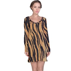 Tiger Animal Print A Completely Seamless Tile Able Background Design Pattern Long Sleeve Nightdress