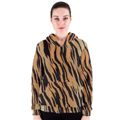 Tiger Animal Print A Completely Seamless Tile Able Background Design Pattern Women s Zipper Hoodie