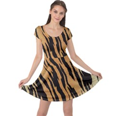 Tiger Animal Print A Completely Seamless Tile Able Background Design Pattern Cap Sleeve Dresses