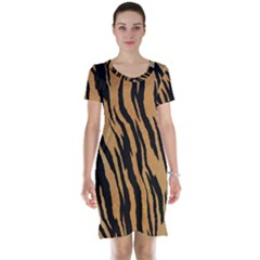 Tiger Animal Print A Completely Seamless Tile Able Background Design Pattern Short Sleeve Nightdress