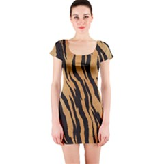 Tiger Animal Print A Completely Seamless Tile Able Background Design Pattern Short Sleeve Bodycon Dress