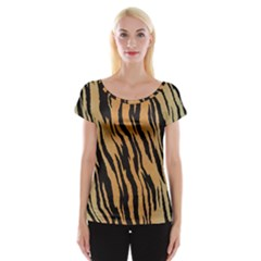 Tiger Animal Print A Completely Seamless Tile Able Background Design Pattern Women s Cap Sleeve Top