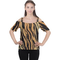 Tiger Animal Print A Completely Seamless Tile Able Background Design Pattern Women s Cutout Shoulder Tee