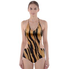Tiger Animal Print A Completely Seamless Tile Able Background Design Pattern Cut Out One Piece Swimsuit