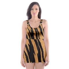 Tiger Animal Print A Completely Seamless Tile Able Background Design Pattern Skater Dress Swimsuit