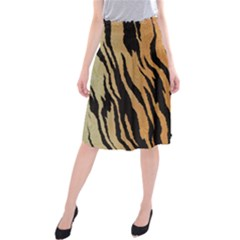Tiger Animal Print A Completely Seamless Tile Able Background Design Pattern Midi Beach Skirt