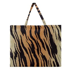 Tiger Animal Print A Completely Seamless Tile Able Background Design Pattern Zipper Large Tote Bag
