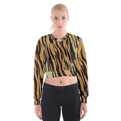 Tiger Animal Print A Completely Seamless Tile Able Background Design Pattern Women s Cropped Sweatshirt