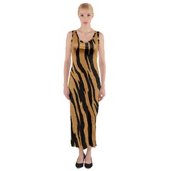 Tiger Animal Print A Completely Seamless Tile Able Background Design Pattern Fitted Maxi Dress