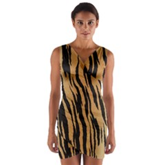 Tiger Animal Print A Completely Seamless Tile Able Background Design Pattern Wrap Front Bodycon Dress