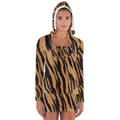 Tiger Animal Print A Completely Seamless Tile Able Background Design Pattern Women s Long Sleeve Hooded T Shirt