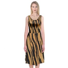 Tiger Animal Print A Completely Seamless Tile Able Background Design Pattern Midi Sleeveless Dress