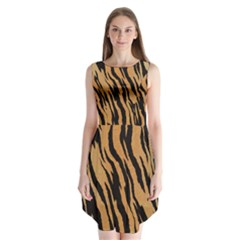 Tiger Animal Print A Completely Seamless Tile Able Background Design Pattern Sleeveless Chiffon Dress