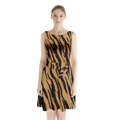 Tiger Animal Print A Completely Seamless Tile Able Background Design Pattern Sleeveless Chiffon Waist Tie Dress