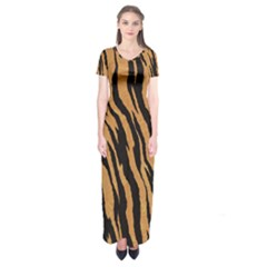 Tiger Animal Print A Completely Seamless Tile Able Background Design Pattern Short Sleeve Maxi Dress