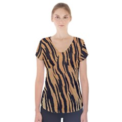 Tiger Animal Print A Completely Seamless Tile Able Background Design Pattern Short Sleeve Front Detail Top