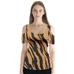 Tiger Animal Print A Completely Seamless Tile Able Background Design Pattern Butterfly Sleeve Cutout Tee