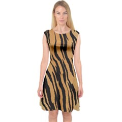 Tiger Animal Print A Completely Seamless Tile Able Background Design Pattern Capsleeve Midi Dress