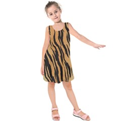 Tiger Animal Print A Completely Seamless Tile Able Background Design Pattern Kids  Sleeveless Dress