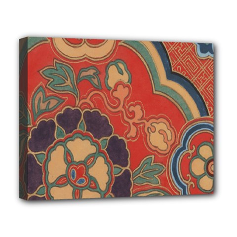 Vintage Chinese Brocade Deluxe Canvas 20  x 16