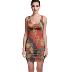 Vintage Chinese Brocade Sleeveless Bodycon Dress