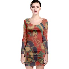Vintage Chinese Brocade Long Sleeve Bodycon Dress