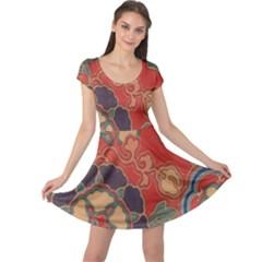 Vintage Chinese Brocade Cap Sleeve Dresses