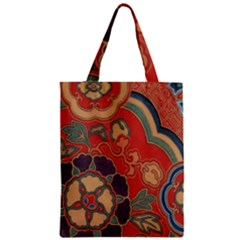 Vintage Chinese Brocade Zipper Classic Tote Bag