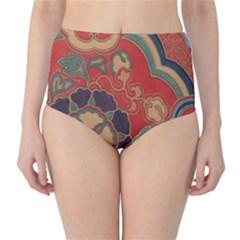 Vintage Chinese Brocade High Waist Bikini Bottoms