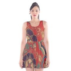 Vintage Chinese Brocade Scoop Neck Skater Dress