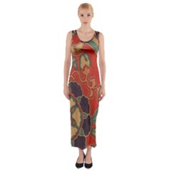 Vintage Chinese Brocade Fitted Maxi Dress