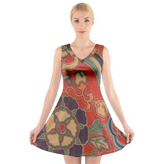 Vintage Chinese Brocade V Neck Sleeveless Skater Dress
