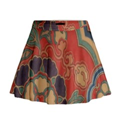 Vintage Chinese Brocade Mini Flare Skirt