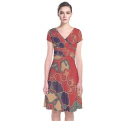 Vintage Chinese Brocade Short Sleeve Front Wrap Dress