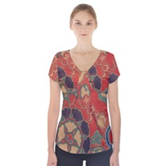 Vintage Chinese Brocade Short Sleeve Front Detail Top