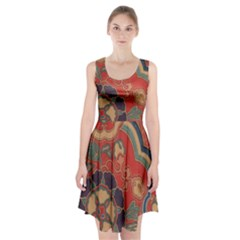 Vintage Chinese Brocade Racerback Midi Dress
