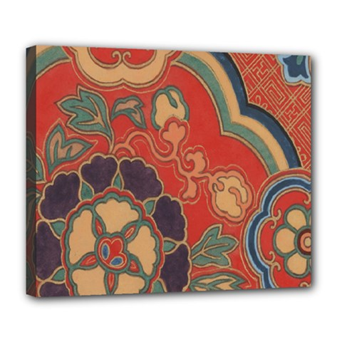 Vintage Chinese Brocade Deluxe Canvas 24  X 20