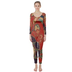 Vintage Chinese Brocade Long Sleeve Catsuit