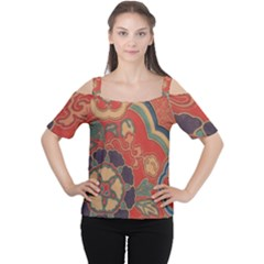 Vintage Chinese Brocade Women s Cutout Shoulder Tee