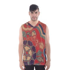 Vintage Chinese Brocade Men s Basketball Tank Top