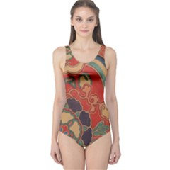 Vintage Chinese Brocade One Piece Swimsuit