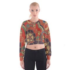 Vintage Chinese Brocade Women s Cropped Sweatshirt