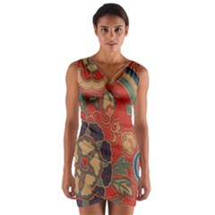 Vintage Chinese Brocade Wrap Front Bodycon Dress