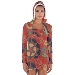 Vintage Chinese Brocade Women s Long Sleeve Hooded T Shirt