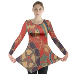Vintage Chinese Brocade Long Sleeve Tunic