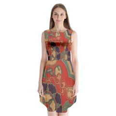 Vintage Chinese Brocade Sleeveless Chiffon Dress
